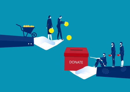 businessman donate with chest full of money giving one coin to humbled beggar or supplicant. Stock Illustratie