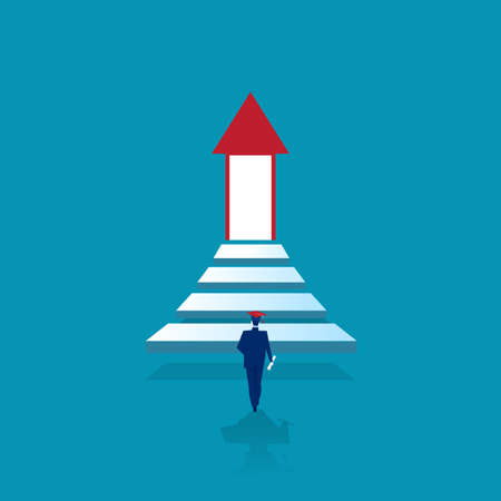 One man graduate walk up the stairs to the lighting door of success concept of business advancement and higher success and leadership in the highest organization. Vector illustrations