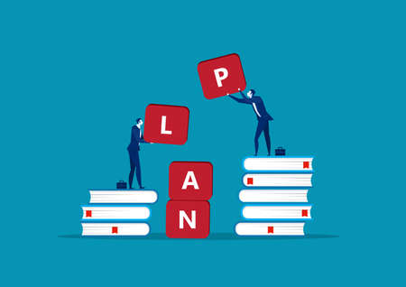Two cartoon businessman holding alphabets forming the word PLAN Creative cartoon vector illustration on concept for teamwork in working on business plan Ilustracja