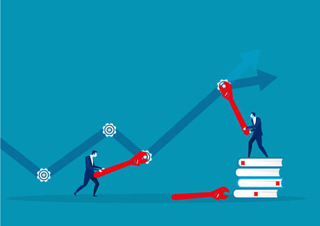 Business team and repair gear forward to arrow growth business concept , Vector illustration Built structure. Иллюстрация