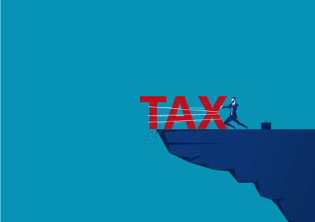 businessman push the word tax from the top of the hill.blue background , vector illustration