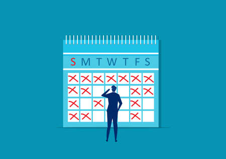 Businessman makes notes on calendar. Planning working month. Schedule record reminders. Vector illustration