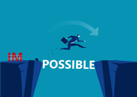 Business conquering obstacles challenge possible concept. Businessman taking risk jumping over gap, vector illustration Çizim