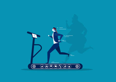 businessman running on treadmill with shadow oversize fat guy weight loss with heath icon on blue background illustrator vector.