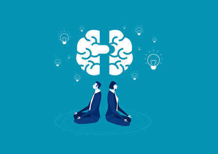 woman and man sit with crossed legs and meditate with brain and Light bulb vector.