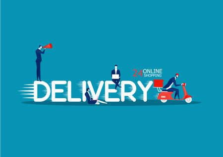 DELIVERY word concept. Concept with people,vector illustration. on blue background.