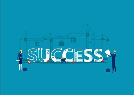 Architectes et ingénieurs travaillant sur des projets, avec le mot SUCCESS Vector Illustration.