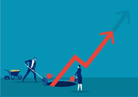 les entreprises creusent le sol avec la croissance de la flèche investissent le vecteur de concept. Vecteurs