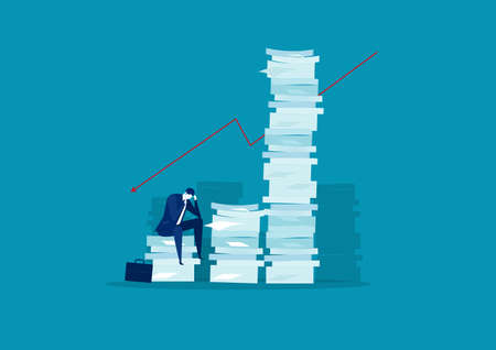 businessman stress and solution with very tall paper stack vs man on blue background