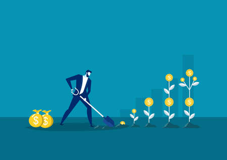 businessman plant a money tree or picking dollars from money tree. Business growth, Vector illustration Çizim