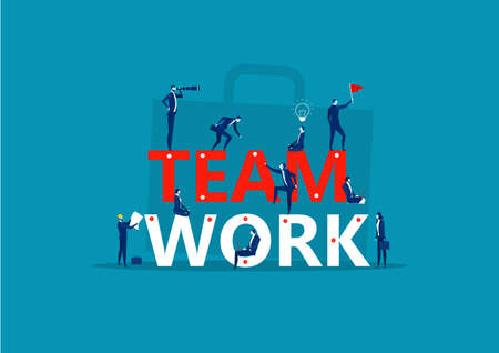 Team work word. Little people build word teamwork together. Creating a business project.