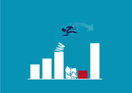 Businessman jump spring across the growing bar chart. vector illustrator. Ilustracja