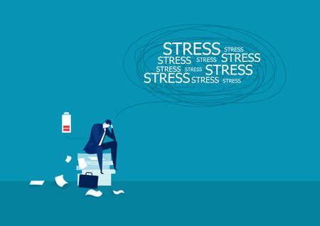 Vector illustration of businessman under stress on many paper. Çizim