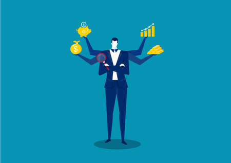 business man thinking for profit  with icon invest on blue background vector