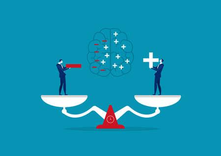 businessman holding positive and negative thinking  concept vector illustration Illustration