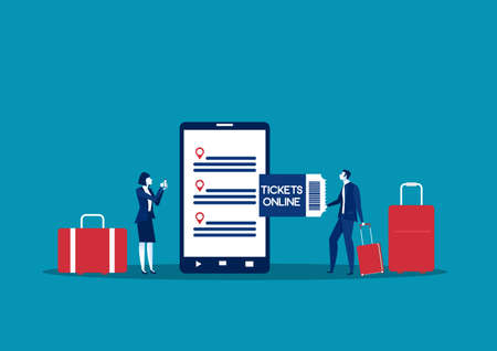Women and man using mobile phone and booking  ticket. Tourist, passenger, luggage. Booking online concept. Vector illustration