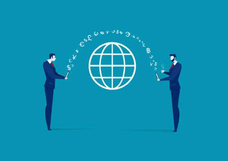 Online Payment Vector Illustration. business man Sending and man Receiving Money Wireless from Mobile Phone  Quick Money Transfer.  Illustration