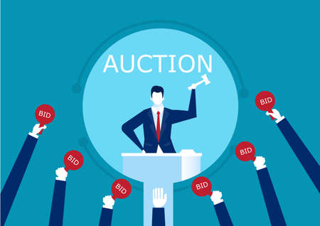 vector auctioneer hold gavel in hand. Buyers competitive raising arm holding bid paddles with numbers of price.  illustration