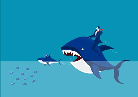 Standard-Bild - Großer Fisch mit Dollarzeichen, der viele kleine isst