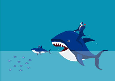 Vector - Big fish with dollar sign eating many small ones Stock Illustratie