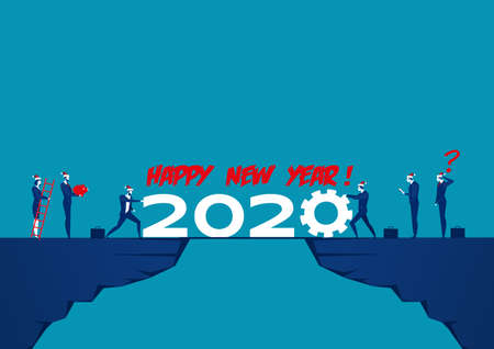 Businessmen push 2020 on top moutain , New year vector illustration. Happy New Year concept.