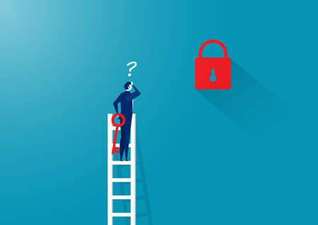 business man thinking unlock on ladder far from key     Business challenge concept vector.