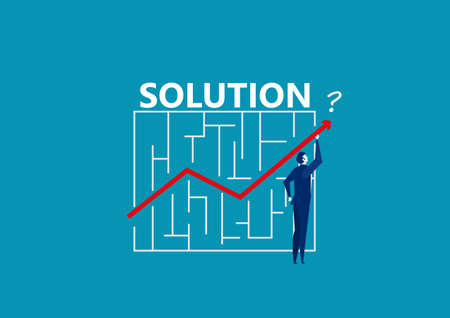 businessman holding line arrow graph through maze . solution and success concept vector.