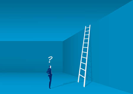 businessman looking up at a ladder solution, challenge, concept