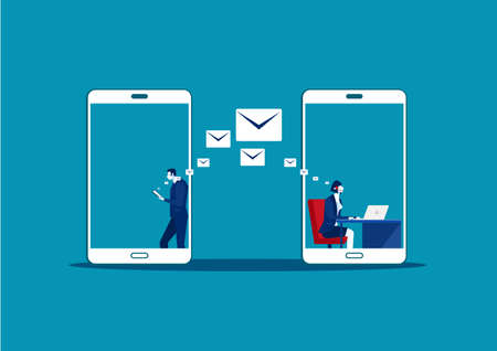 Man use samrtphone Online letter Chatting make call center. Social Media Communication, Vector Illustration