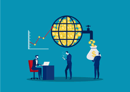 Global financial market. Stock Exchange.Financial management and financial data analysis. Business team. Vector illustration