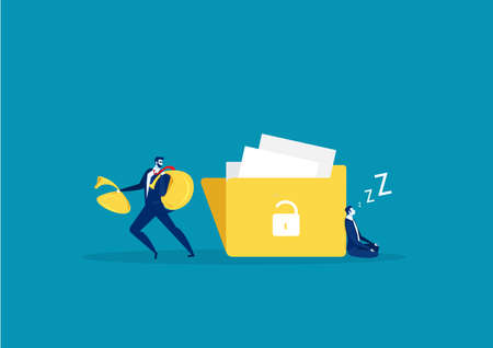 A man with a hand wants to steal information from big file. Flat design, vector illustration, vector. Çizim