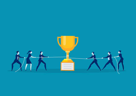 team business pull the rope with trophy  concept. tug of war background vector illustration Illustration