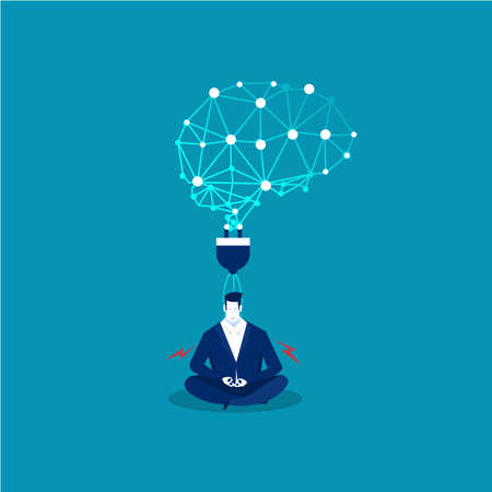 businessman thinking during meditation plug power. vector illustration.