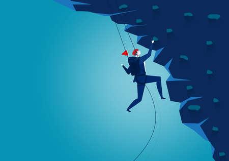 Hombre de negocios escalando la montaña. Desafío, ilustrador de vectores de concepto.