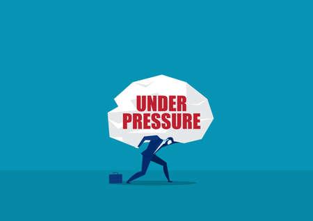Man carrying heavy big under pressure word vector.concept vector Vektorové ilustrace