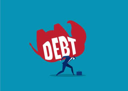 business man carry big debt similar elephant  concept vector. Illusztráció