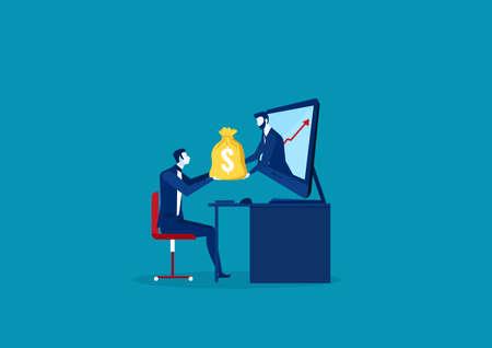 Business Man Receiving Money from Laptop. Vector illustration Standard-Bild - 134513335