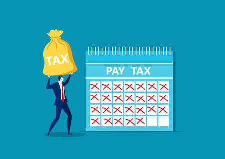 businessman holding money for pay tax end year concept vector