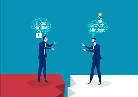Pensamiento diferente de dos empresarios entre el concepto de éxito Fixed Mindset vs Growth Mindset