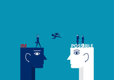 business man jumping over big head and breaking the impossible into posiible concept vector illustrator.