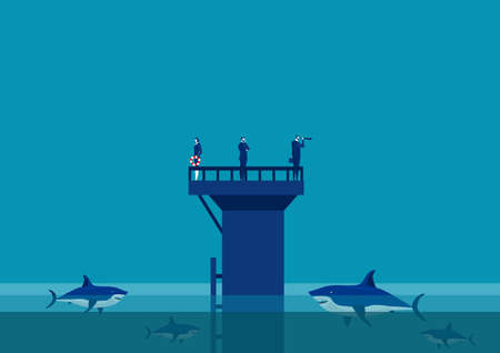 team business on wall in the middle of the sea  team surrounded by sharks. Concept of business challenge  Stock Illustratie