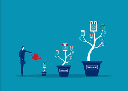Businessman is watering money tree to grow franchise business. Increasing and growth business flat concept illustration. Archivio Fotografico - 136672850