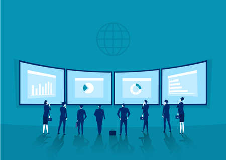 businessmen is standing in back of a whiteboard with financial charts. invest Vector Archivio Fotografico - 136673024