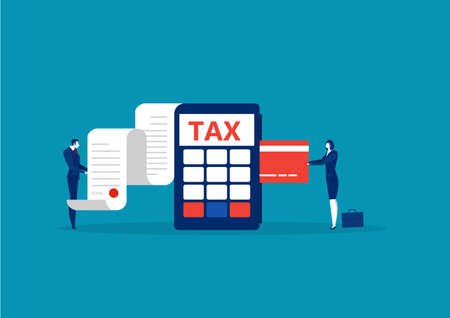 business take credit card for pay tax end year concept vector