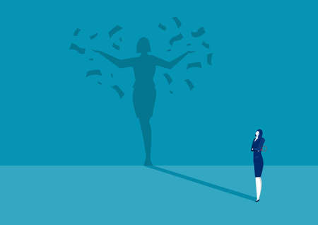 business woman looking her shadow under money rain success concept vector.