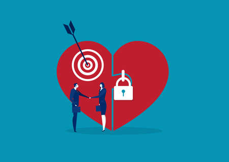 big love heart lock with people hand shake deal business design symbol vector Stock Illustratie