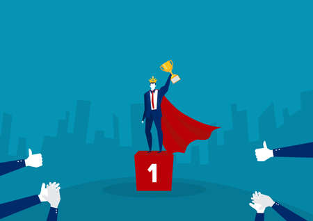 business people character holding trophy promote to position and get reward standing on podium and celebrate. illustrator