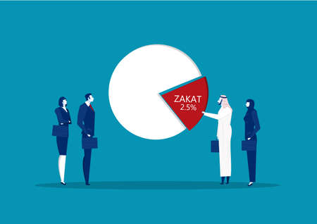 Muslim business take out to proportioning donation zakat 2.5 Percent from profit invest business vector