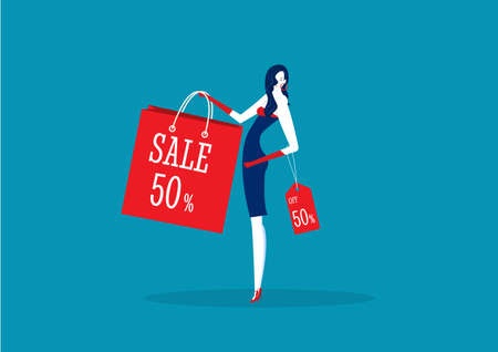 woman pretty gesture presenting discount product with sales promotion Campaign for poster template Archivio Fotografico - 137145617