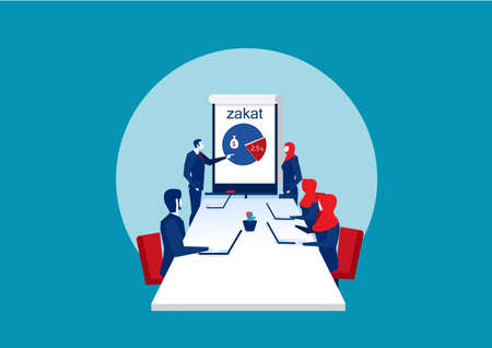 Business conference room about zakat with people managers working team vector Archivio Fotografico - 137087968